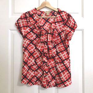 BANANA REPUBLIC RuffleNeck Button Down blouses Top